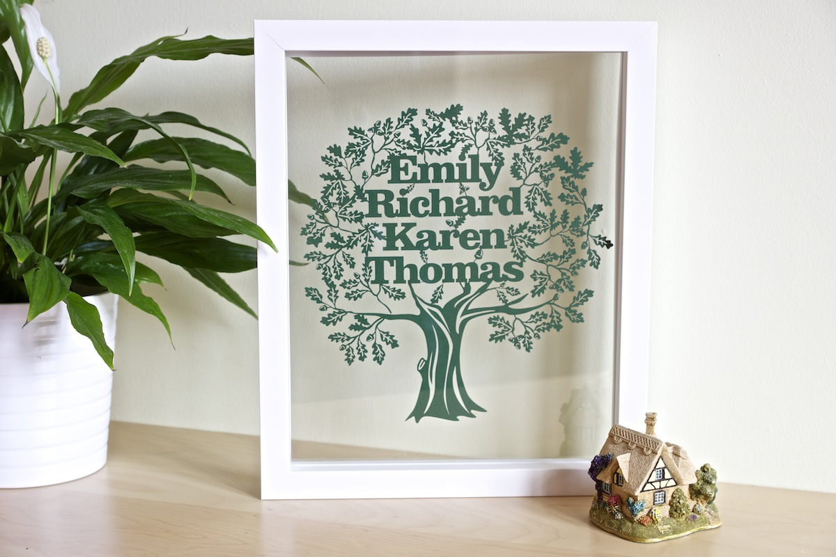 Personalised Gifts. Family Tree Papercut