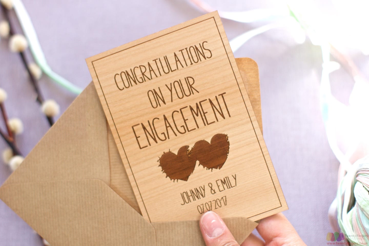 Personalised engagement wooden card