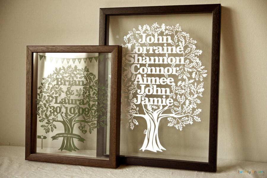 Personalised Large Family Tree Papercut In A Floating Frame