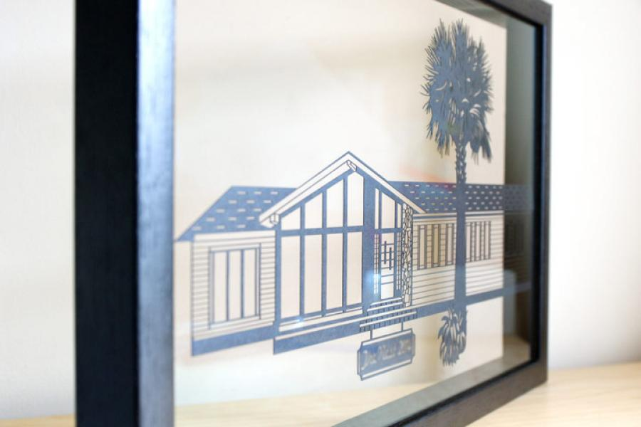 Personalised House Papercut in a Floating Frame