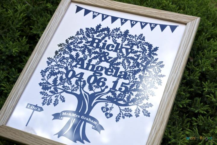 Love Tree Papercut. Traditional Frame (Home Decor)