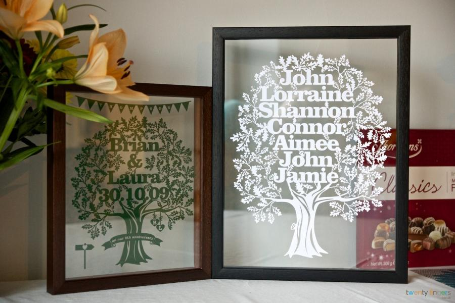 Personalised Large Family Tree Papercut in a Floating Frame ...