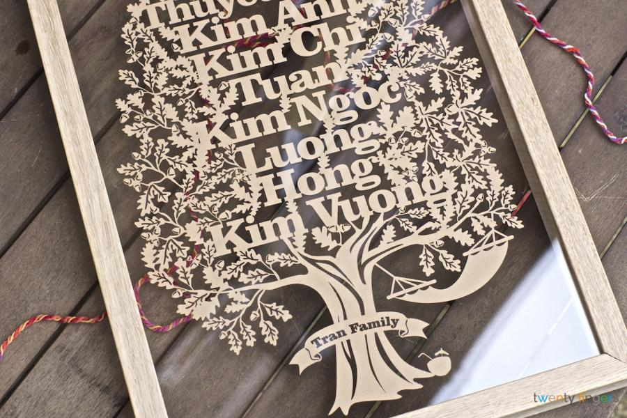 Personalised Large Family Tree Papercut In A Floating