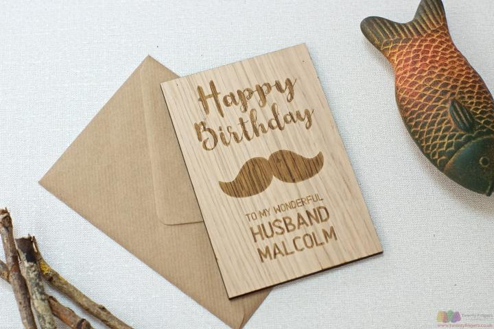 To my wonderful husband. Personalised wooden birthday card