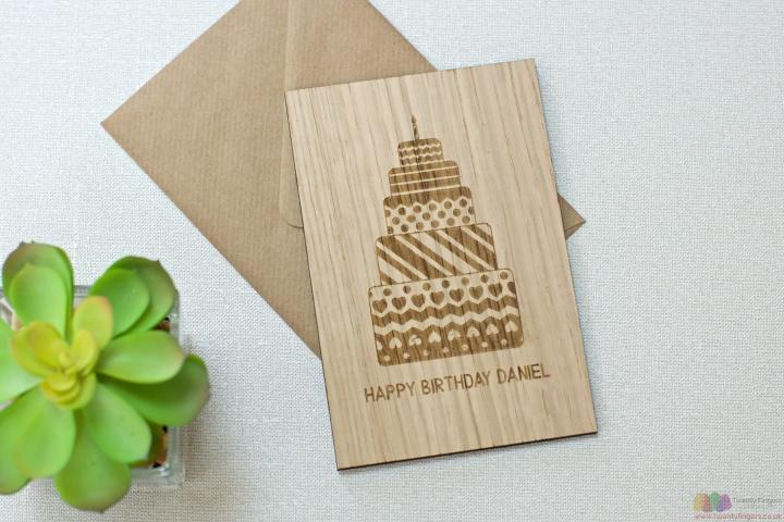 Happy BDay. Personalised wooden card