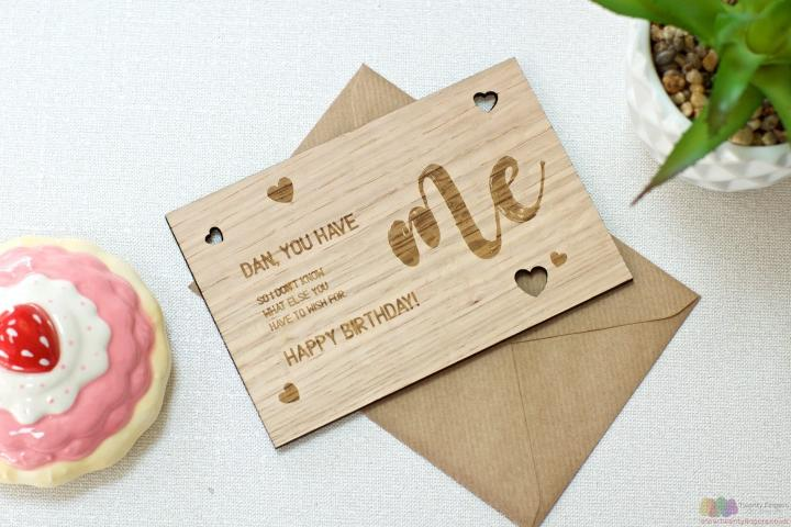 You have me. Personalised wooden birthday card