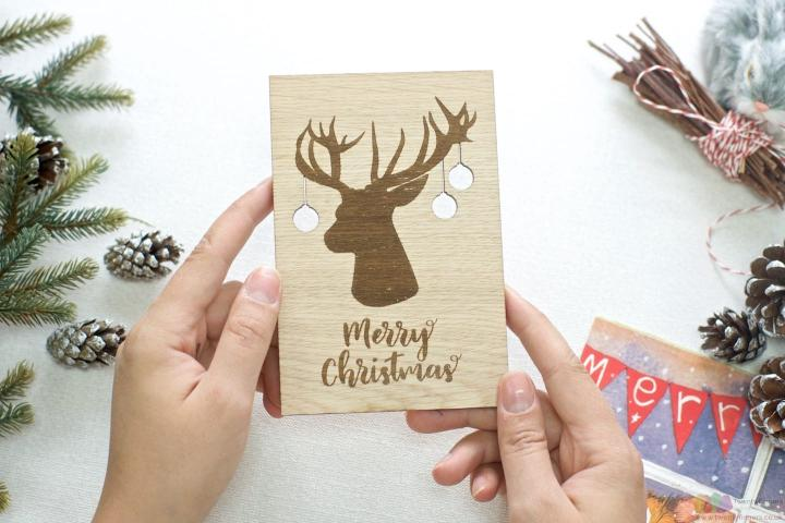 The stag | Personalised Christmas wooden greeting card