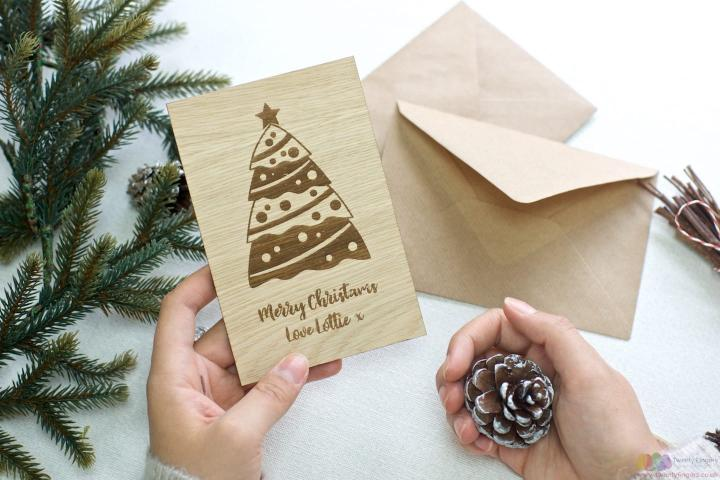 Christmas Tree | Personalised Christmas wooden greeting card