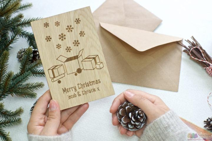 The Gifts | Personalised Christmas wooden greeting card