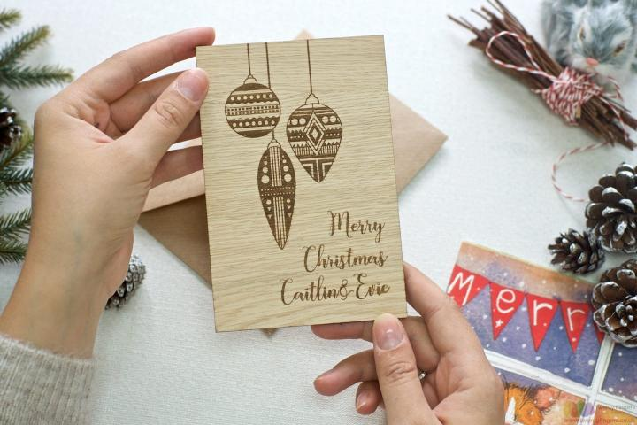 Personalised Christmas baubles wooden greeting card