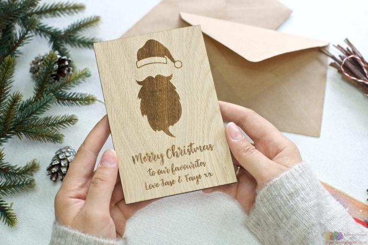 Father Christmas | Personalised wooden greeting card