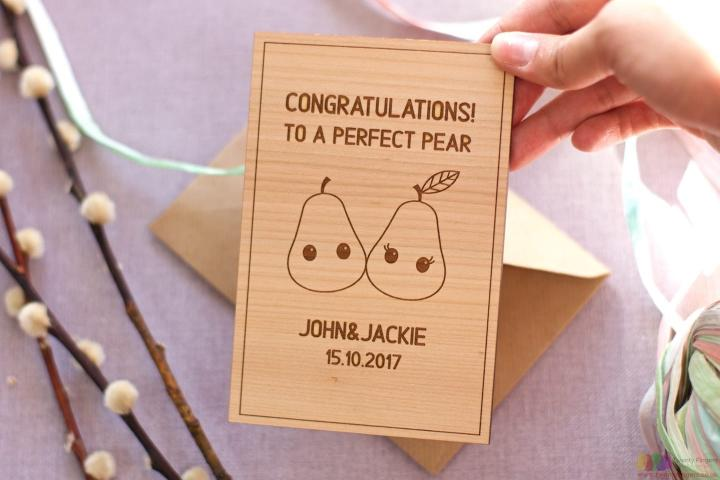To a perfect pear. Personalised engagement card