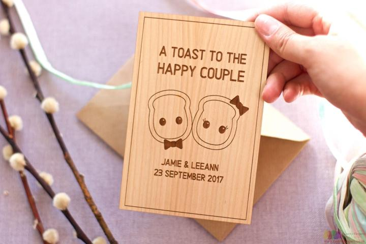A toast. Personalised Engagement Card