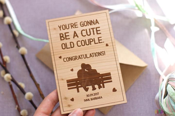 A cute old couple. Personalised engagement card