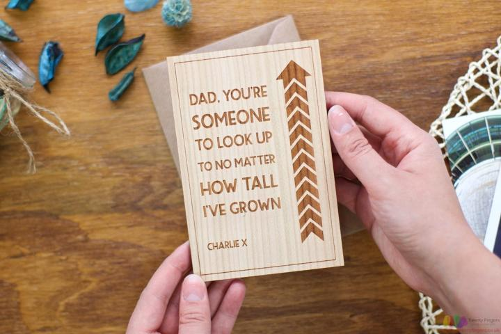You're someone to look up. Personalised Fathers Day Card