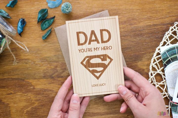 You're my hero. Personalised Fathers Day Card