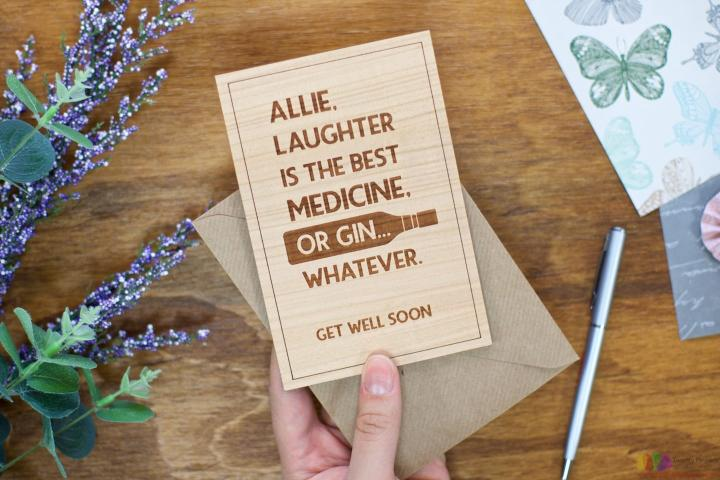 Laughter or gin. Personalised Get Well Card