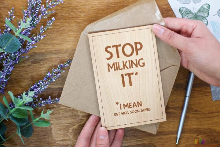 Stop milking it. Personalised Get Well Card