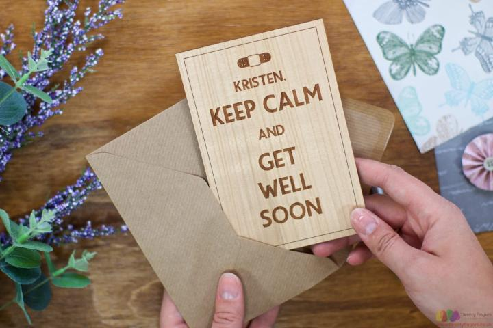 Keep calm and get well soon. Personalised Card