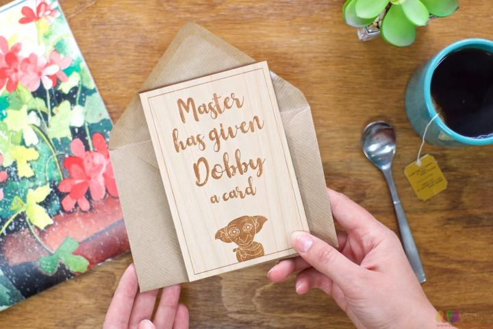 Dobby got a card. Personalised Leaving Card