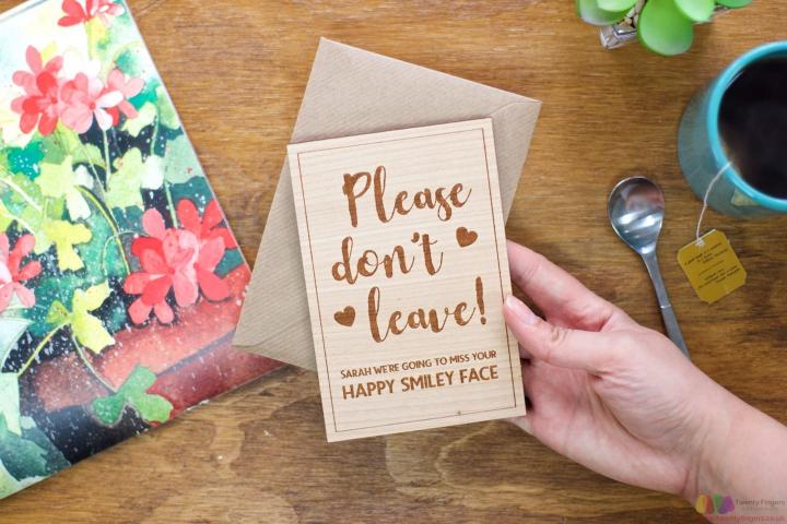 Please don't leave! Personalised Leaving Card