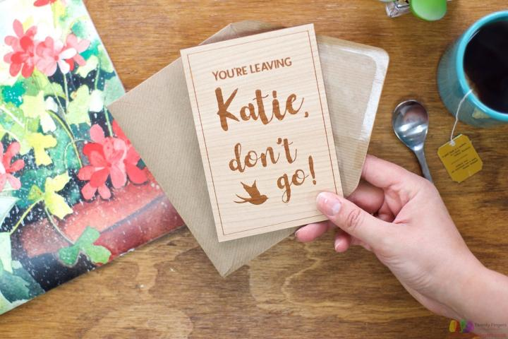 Don't go! Personalised Leaving Card
