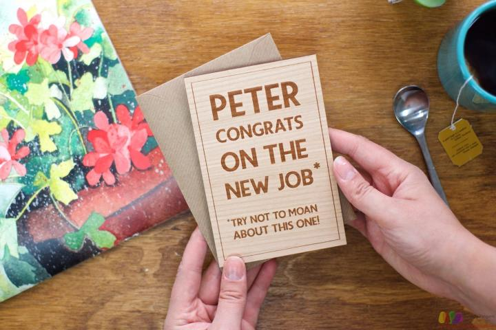 Congrats on the new job. Personalised Leaving Card