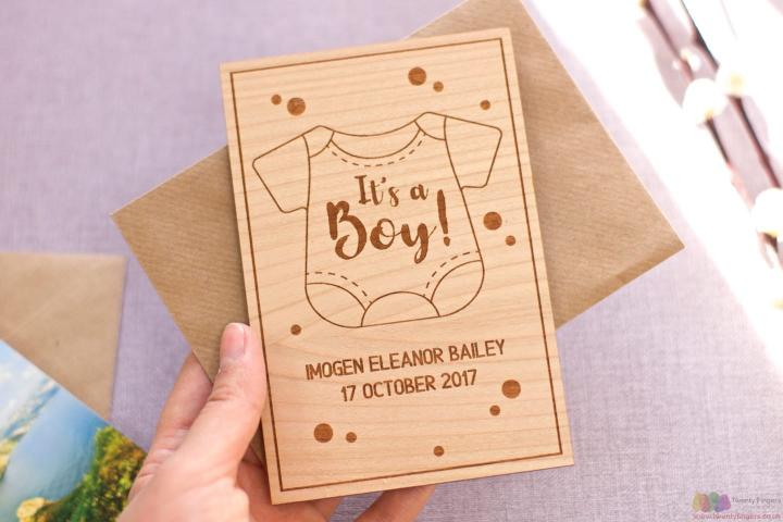 It's a boy! Personalised wooden card