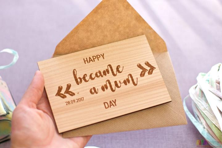 Became a mum. Personalised wooden card