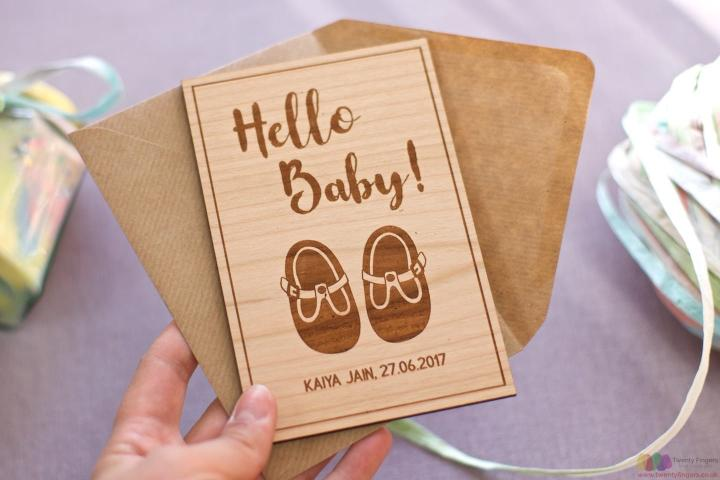 Hello baby! Personalised wooden card