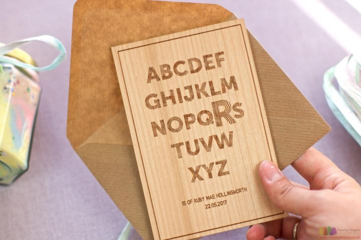 A is for...  Personalised wooden card