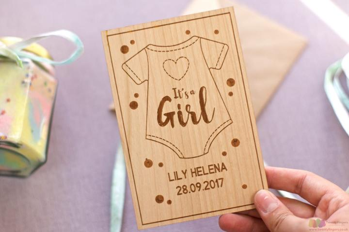 It's a girl! Personalised wooden card