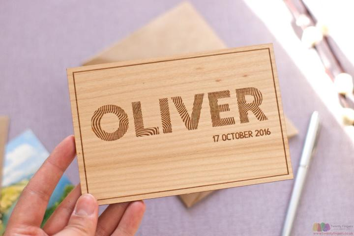 Baby's name. Personalised wooden card