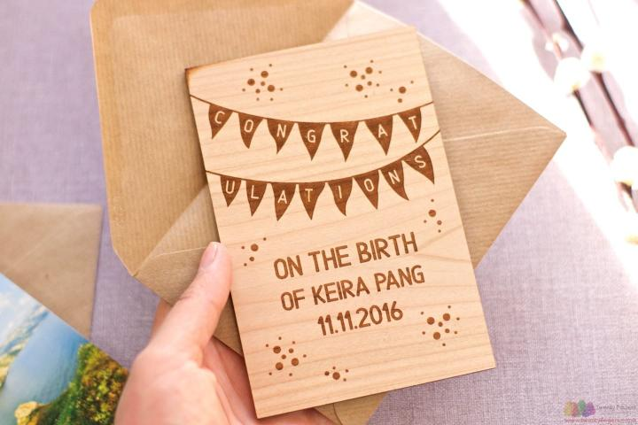 Congratulations on the birth. Personalised wooden card