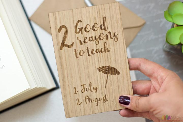 2 Good reasons to teach. Personalised wooden teacher card