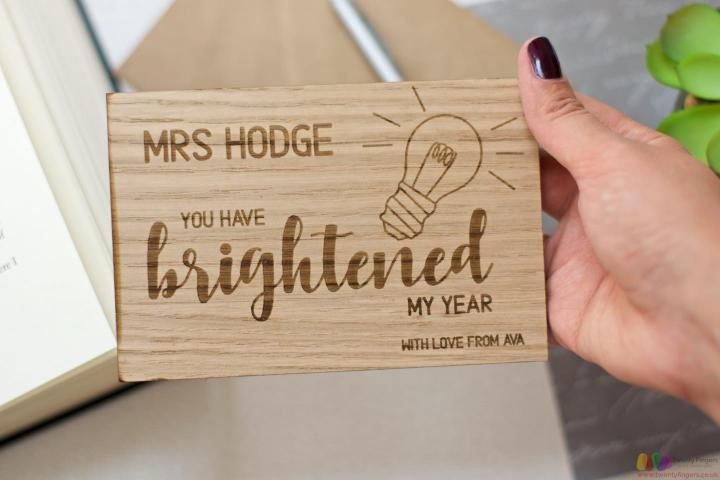 You have brightened my year. Personalised teacher wooden card