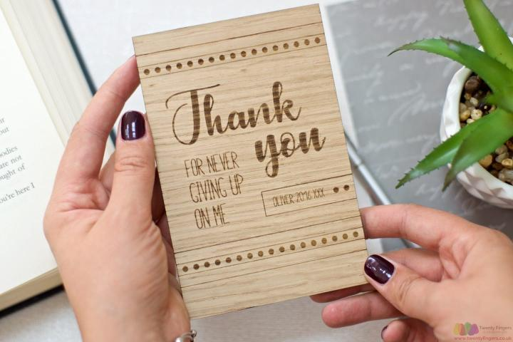 For not giving up on me. Personalised wooden teacher card