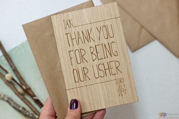 Personalised thank you usher card