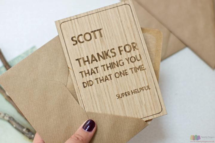 For that thing | Personalised thank you wooden card