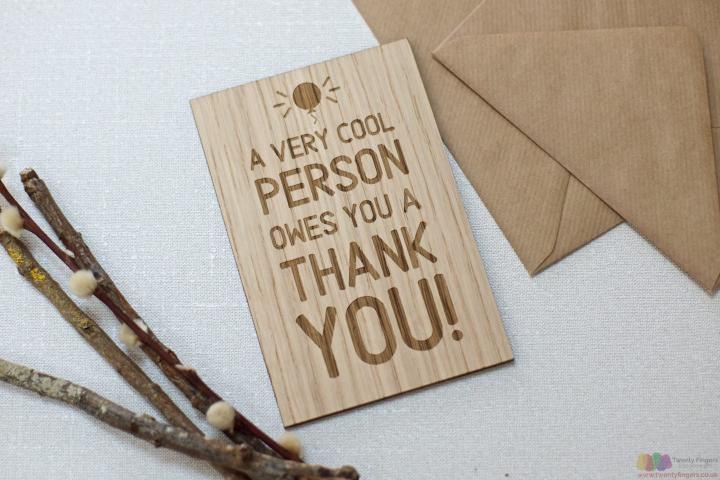 Owe you a thank you. Personalised card
