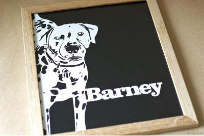 Pet Portrait Papercut. Traditional Frame