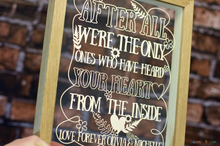 After all I'm the only one who has heard your heart from the inside personalised papercut