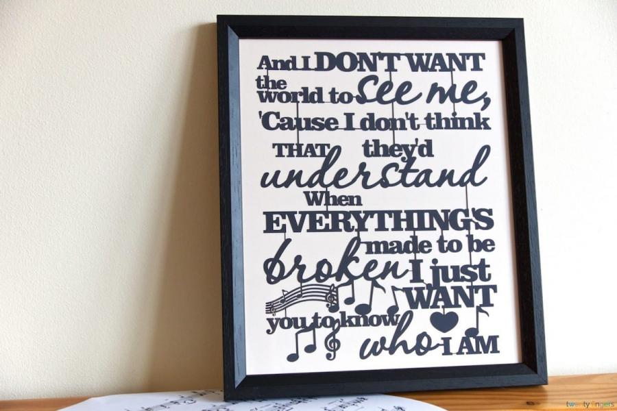 Frames With Quotes On Them: Any Text, Lyrics & Quotes Papercut. Traditional Frame
