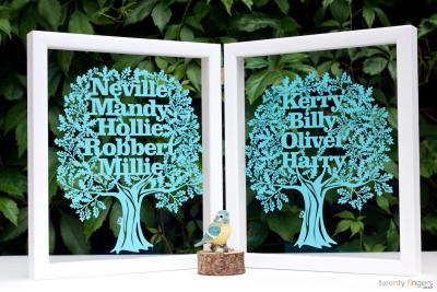 Double Family Tree Papercut (framed)