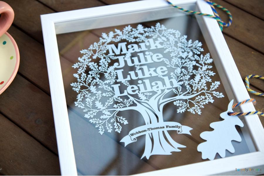 Family Tree Papercut Personalised Gift In A Floating Frame