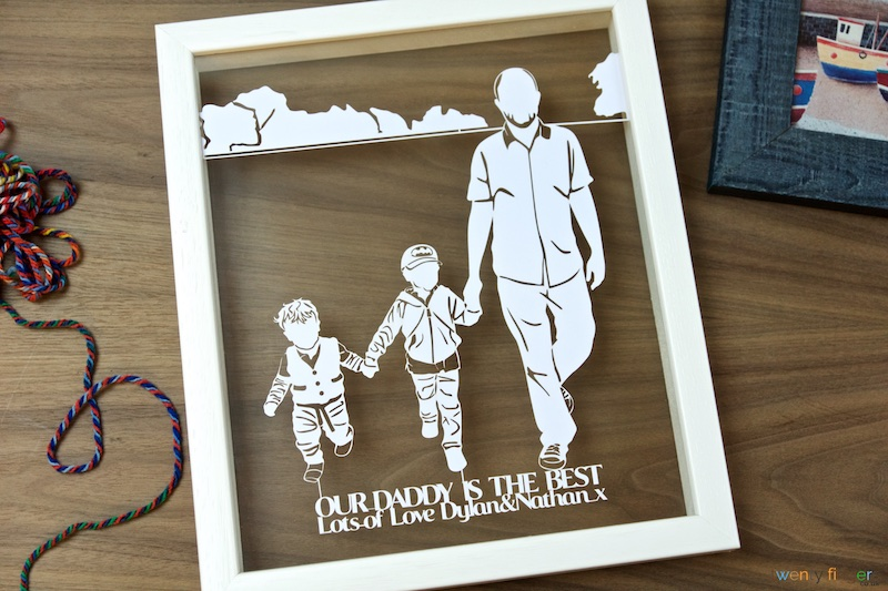 Father and Children Silhouette Papercut